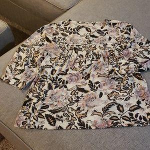 LOFT 3/4 Sleeve Floral Blouse